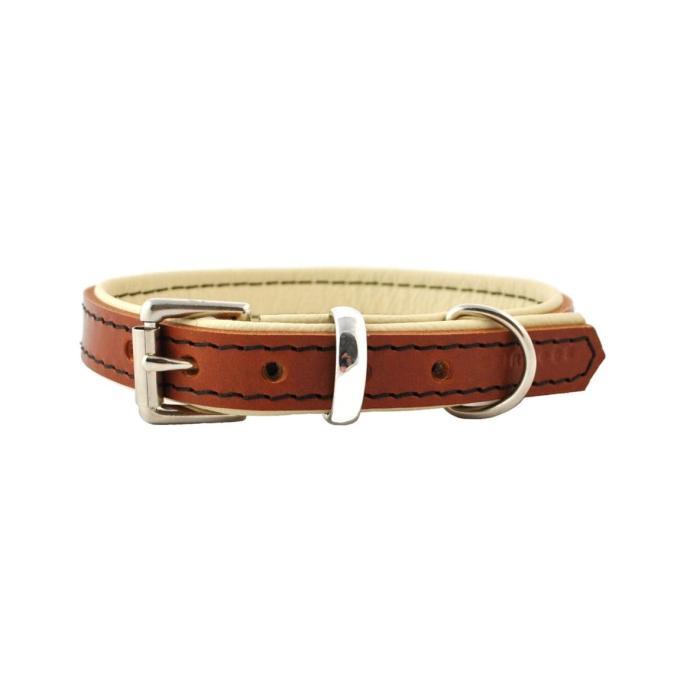 Tan on Cream Padded Leather Dog Collar