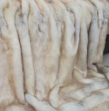 Snow Wolf Faux Fur Dog Blanket