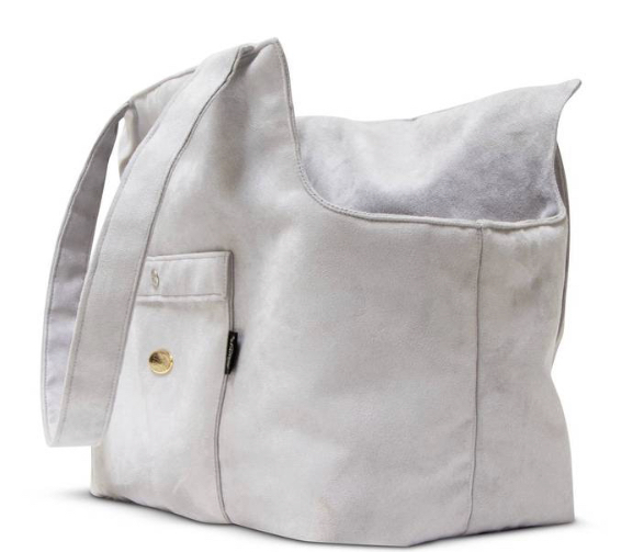 Suede Grey Pick and Sleep Dog Carrier Bag