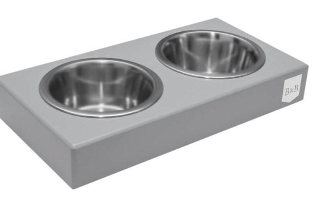 Wooden Dup Dog Bowl Grey