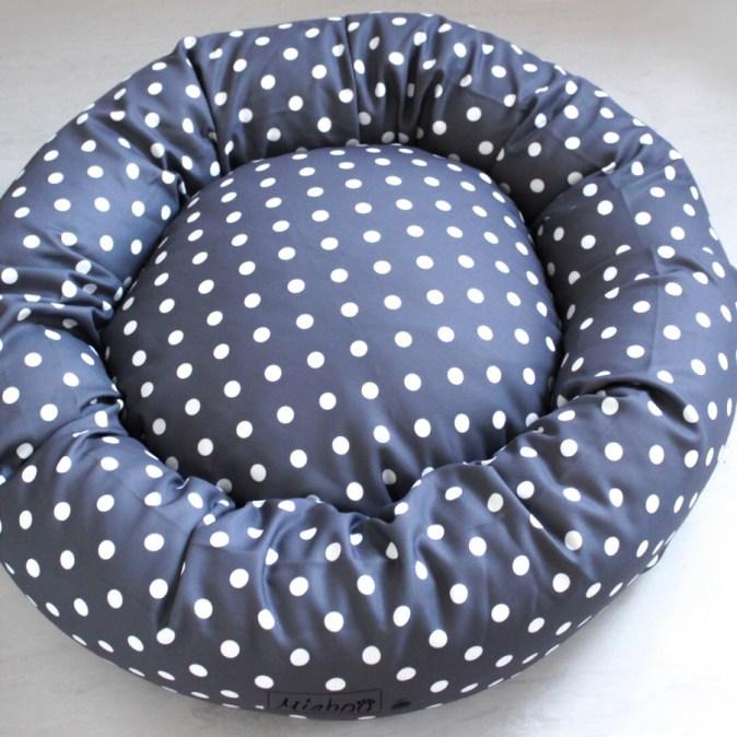 CHARCOAL POLKA- DOG DONUT BED