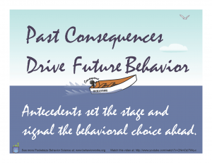 Past consequences drive future behaviors. Antecedents set the stage and signal the behavior choice ahead.