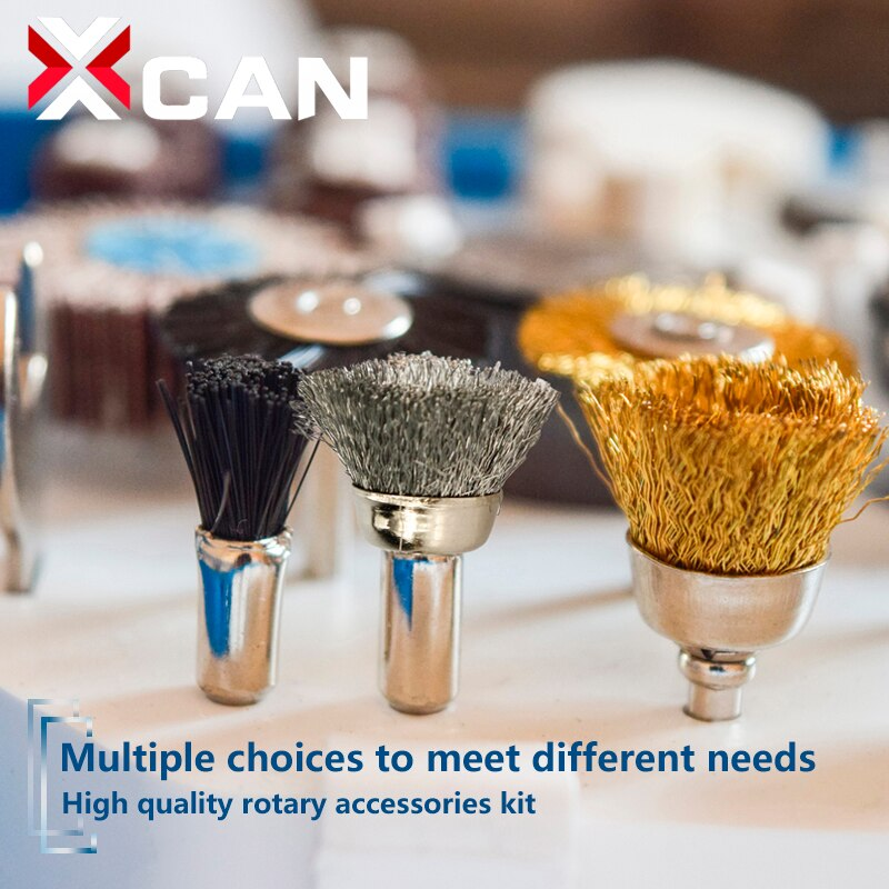 XCAN 99pcs Metal Polishing Tools Set Sanding Drum with Wire Polish Wheel Brush Rotary Tools Accessories Kit