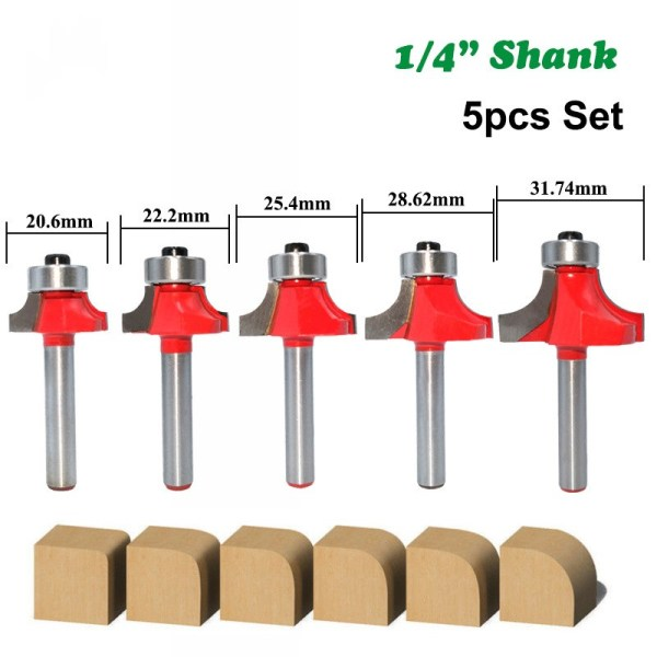 """5pcs 6mm 1/4"""" Shank Corner Round Over Router Bit with Bearing Cleaning Flush Milling Cutter for Wood Woodworking Tool MC01065"""