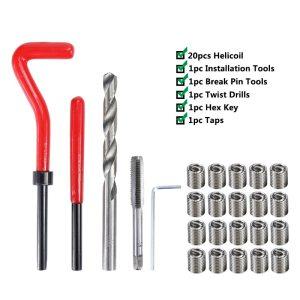 XCAN Thread Repair Tool Kit 25pcs M3/M4/M5/M6/M7/M8/M10/M12/14 for Restoring Damaged Threads Spanner Wrench Twist Drill Bit Kit