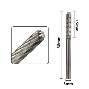 XCAN 10pcs 3mm Tungsten Carbide Rotary Burrs Set Accessories for Rotary Tools Milling Cutter Engraving Bits
