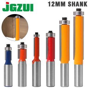 """1pc 12mm Shank 2"""" 3"""" Flush Trim Router Bit with Bearing for Wood Template Pattern Bit Tungsten Carbide Milling Cutter for Wood"""