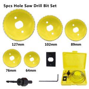 Wood Drill Bit 5 8 11 13 16pcs Woodworking Hole Cutter Carbon Steel Core Drill Bit 19-127mm Hole Saw Drill Set