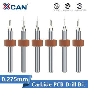 XCAN 0.275mm PCB Mini Drill Bit Set 3.175mm Shank Tungsten Carbide PCB Drill Bit For Print Circuit Board Gun Drill Bit