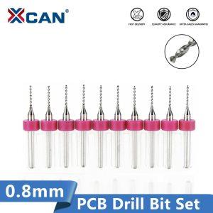 XCAN 0.8mm 10pcs/lot Carbide Micro Drill Bits CNC PCB Drill Bit Set