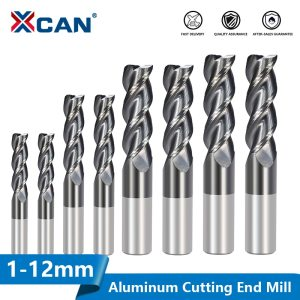 XCAN Carbide End Mill 1-12mm 3 Flute End Milling Bit for Aluminum Copper Cutting Super Coated CNC Router Bit Milling Cutter