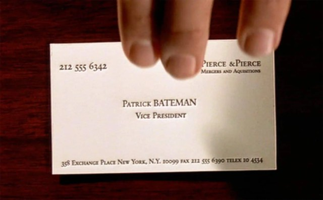 American Psycho Visitenkarte