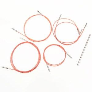 Набір червоних кабелів для зйомних спиць Addi (5 шт)