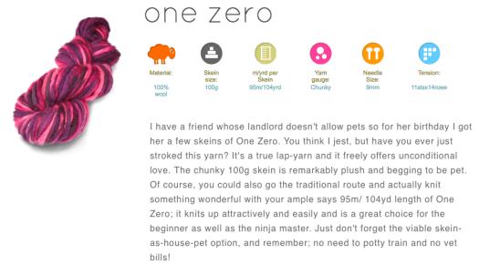 One zero yarn