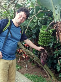 Fiasco getting friendly with a banana tree.