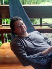 The birthday boy, in a hammock.