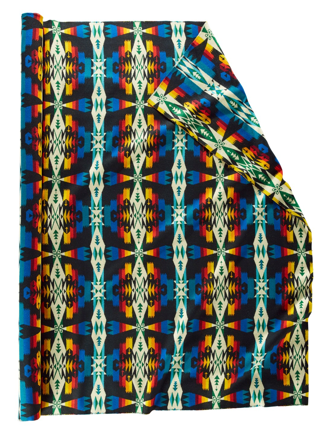 A roll of Pendleton wool fabric in Tucson Black, a black background with interlocking shapes in electric blue, red, yellow and white.