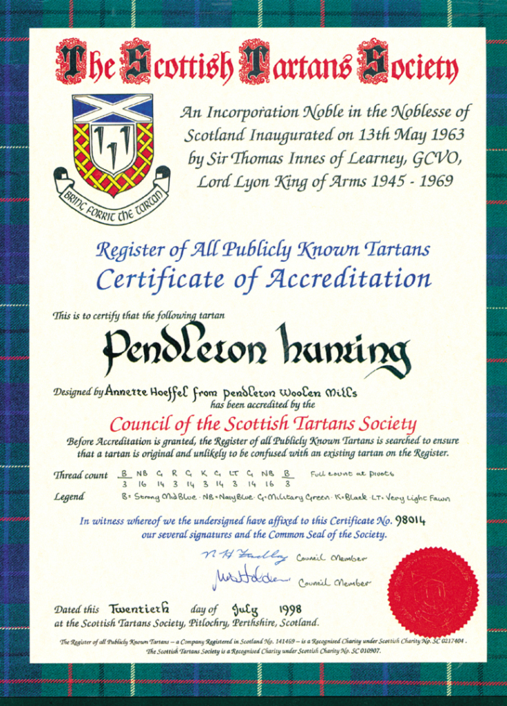 Photo of a certificate from the Council of Scottish Tartans Society, officially recognizing the Pendleton Hunting tartan. Dated July 20, 1998.