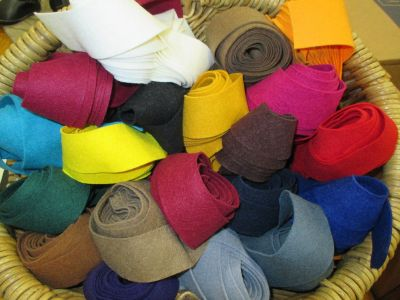 A basket of felt binding--a rainbow of color choices!