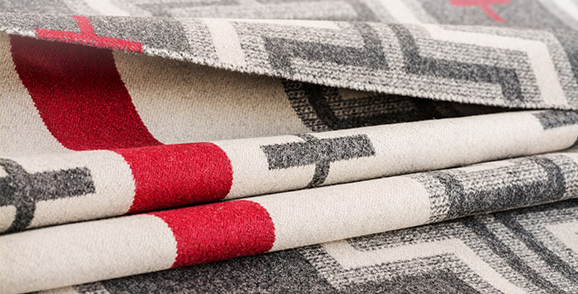 Folds of fabric, Pendleton San Miguel patterned wool in cream, red and grey