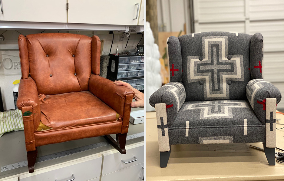 """Side by side photos of a child's chair. The before shot shows a small winback chair with tattered brown vinyl upholstery. The after chair is covered in Pendleton wool in the """"San Miguel"""" pattern, of ivory and red crosses on a grey background."""