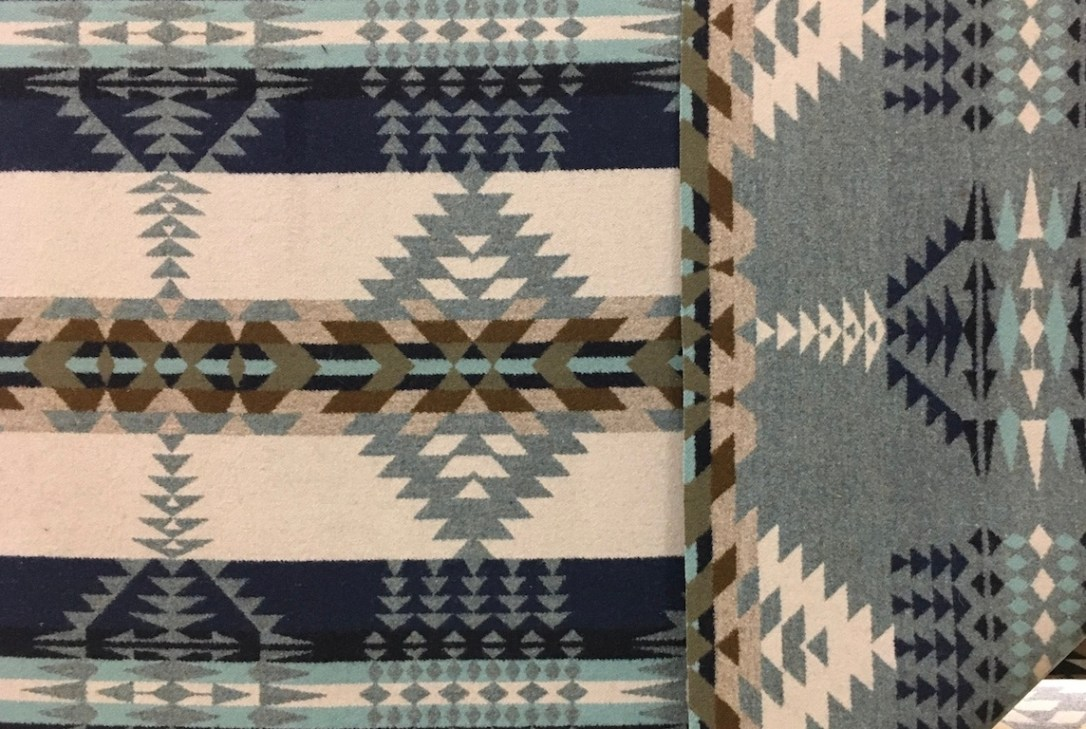 The new Rancho Arroyo fabric is here, in a geometric pattern of grey, beige, navy, shale blue, tan and olive.
