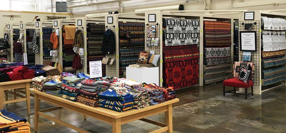 Pendleton fabric rolls at the Woolen Mill Sttore in Milwaukie, Oregon.