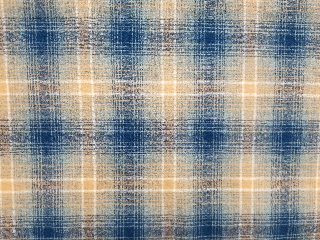 Woolen flannel in weave of blues and golds