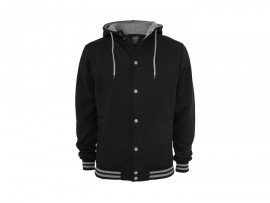Urban Classics Hooded College Sweatjacket Black/Grey