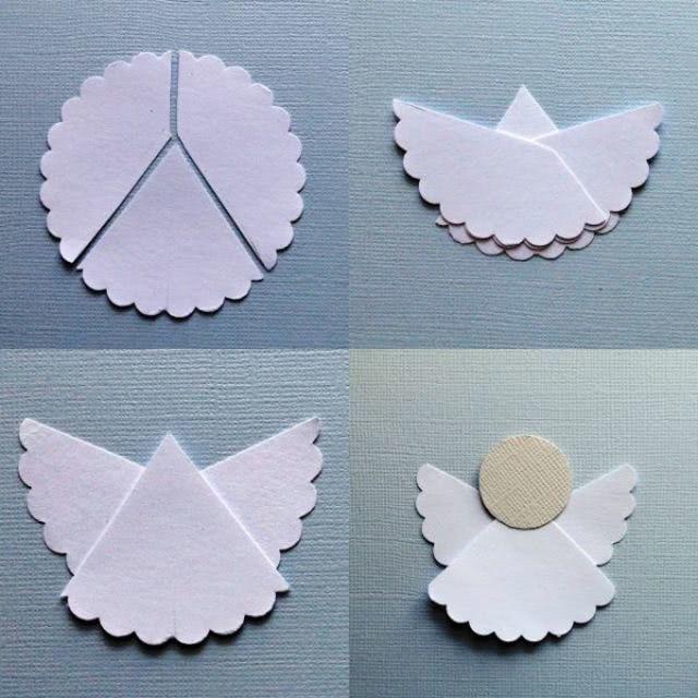 Șablon de un înger de Crăciun cu mâinile de la hârtie_1