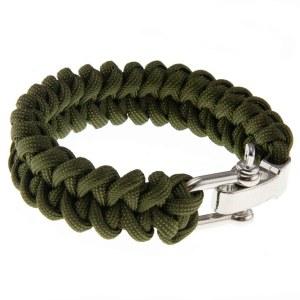 Paracord/faldskærmsline armbånd Army-grøn