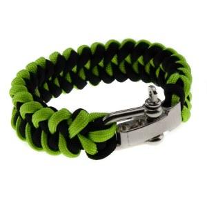 Paracord/FALDSKÆRMSLINE armbånd grøn/sort