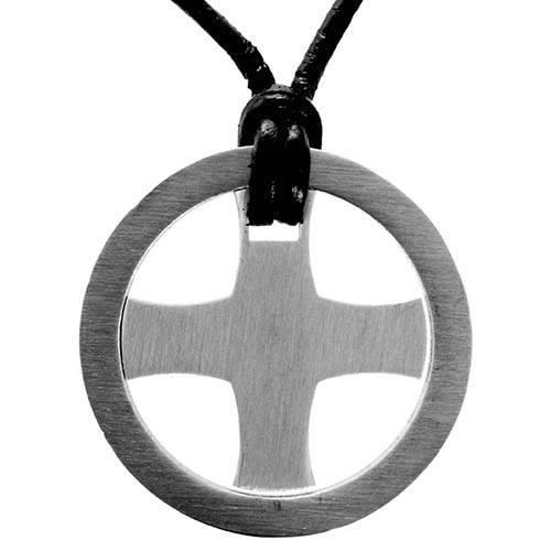 Halskæde med lædersnor og keltisk kors