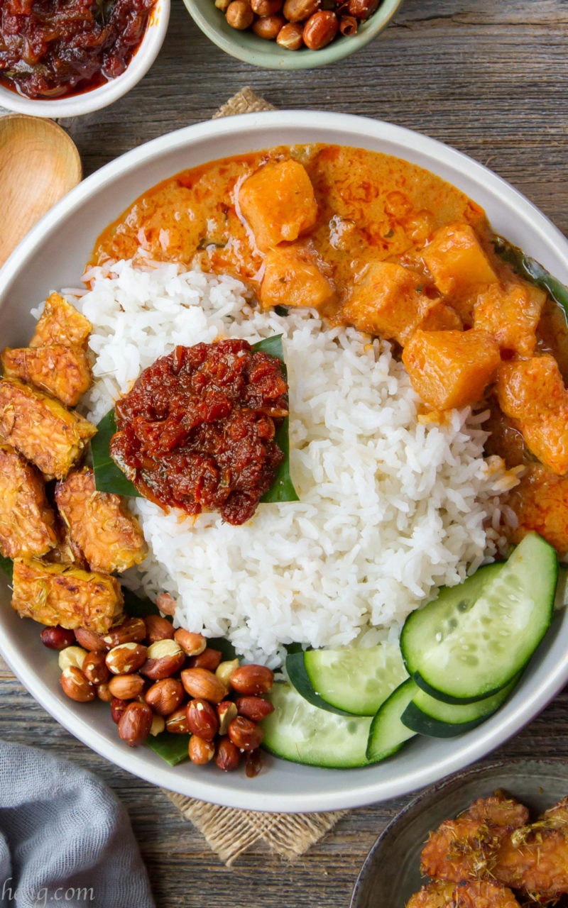 Vegan Nasi Lemak with homemade sambal