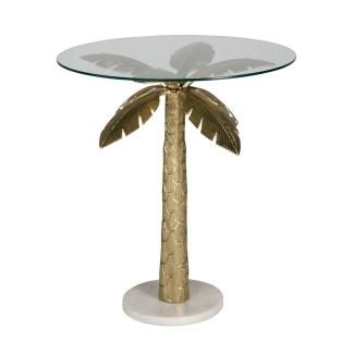 Bijzettafel Palm met glas (Goud)