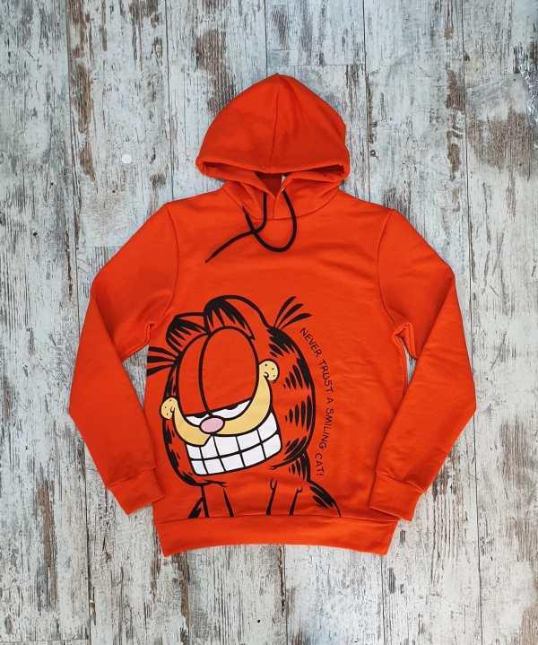 Unisex Siyah Garfield Baskılı Sweatshirt Kapşonlu