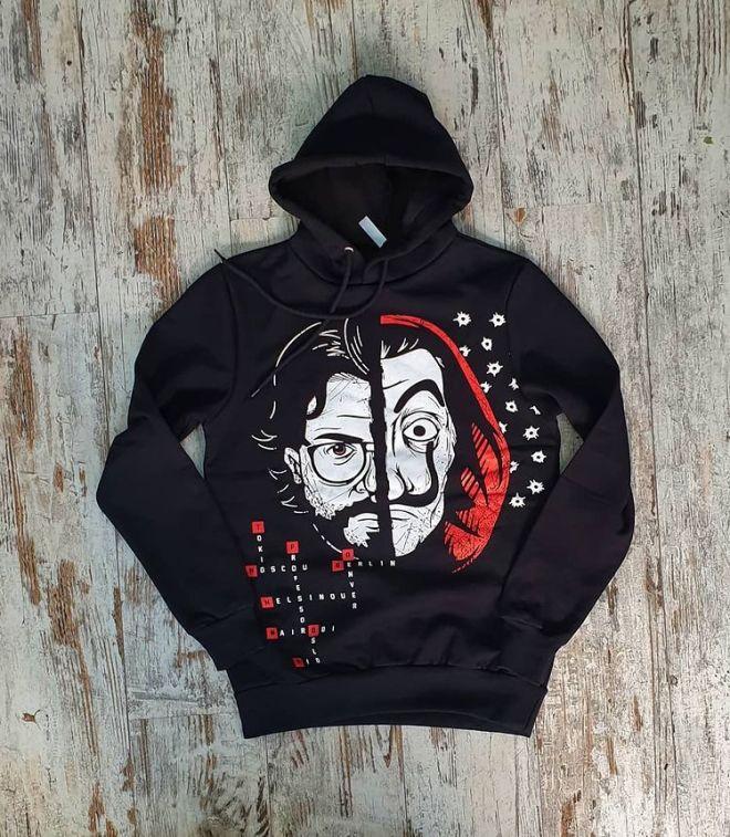 Unisex Siyah La Casa De Papel Baskılı Sweatshirt Kapşonlu