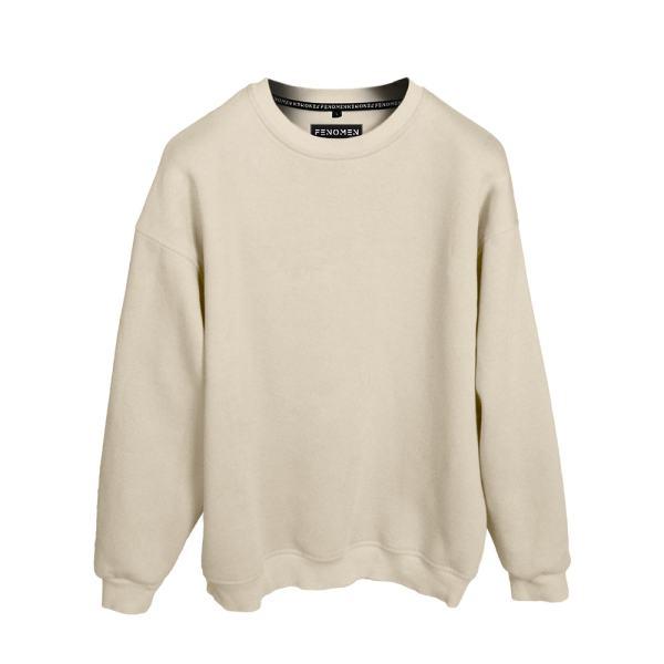 Sweatshirt Bej Renk Baskısız Oversize Unisex