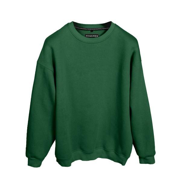 Sweatshirt Yeşil Renk Baskısız Oversize Unisex