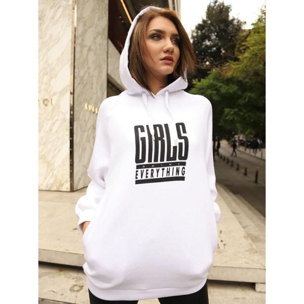 Kapüşonlu Oversize 3 Iplikli Hoodie Sweatshirt Beyaz
