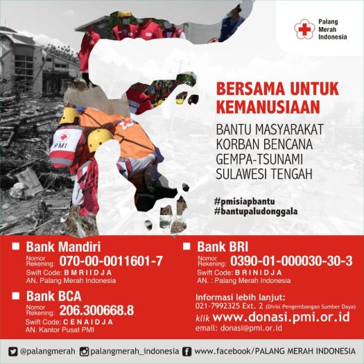 graphic with SWIFT code to donate to Indonesia relief funds