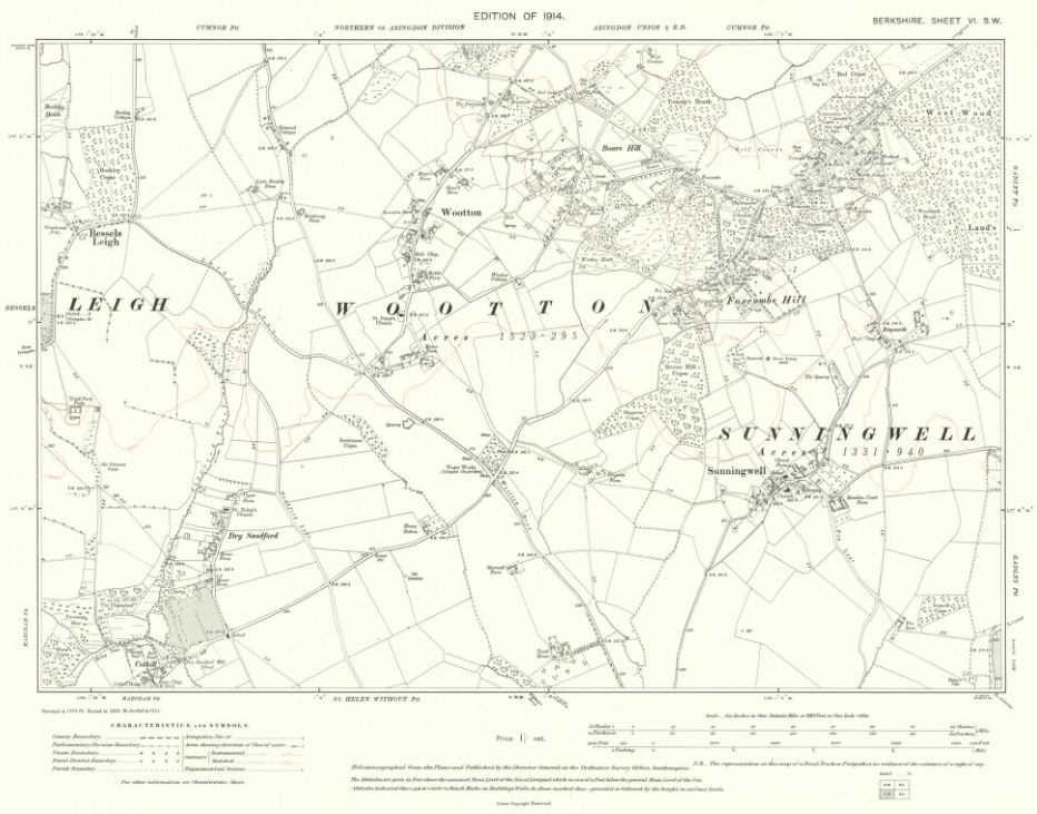 Wootton Parish Maps 1914 Berkshire VI SW OS Six inch 1