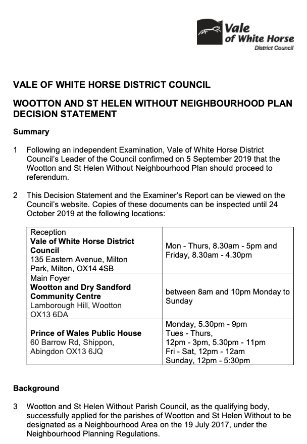 Wootton (Nr Abingdon) and St Helen Without Joint Neighbourhood Plan - Decision Statement.