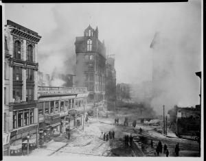 The fire that resulted in the founding of Box 4. Photo Courtesy the E.B. Luce Collection