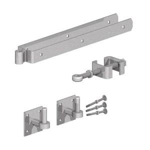 GATEMATE® Field Gate Adjustable Double Strap Hinge Set with Hooks on Plates