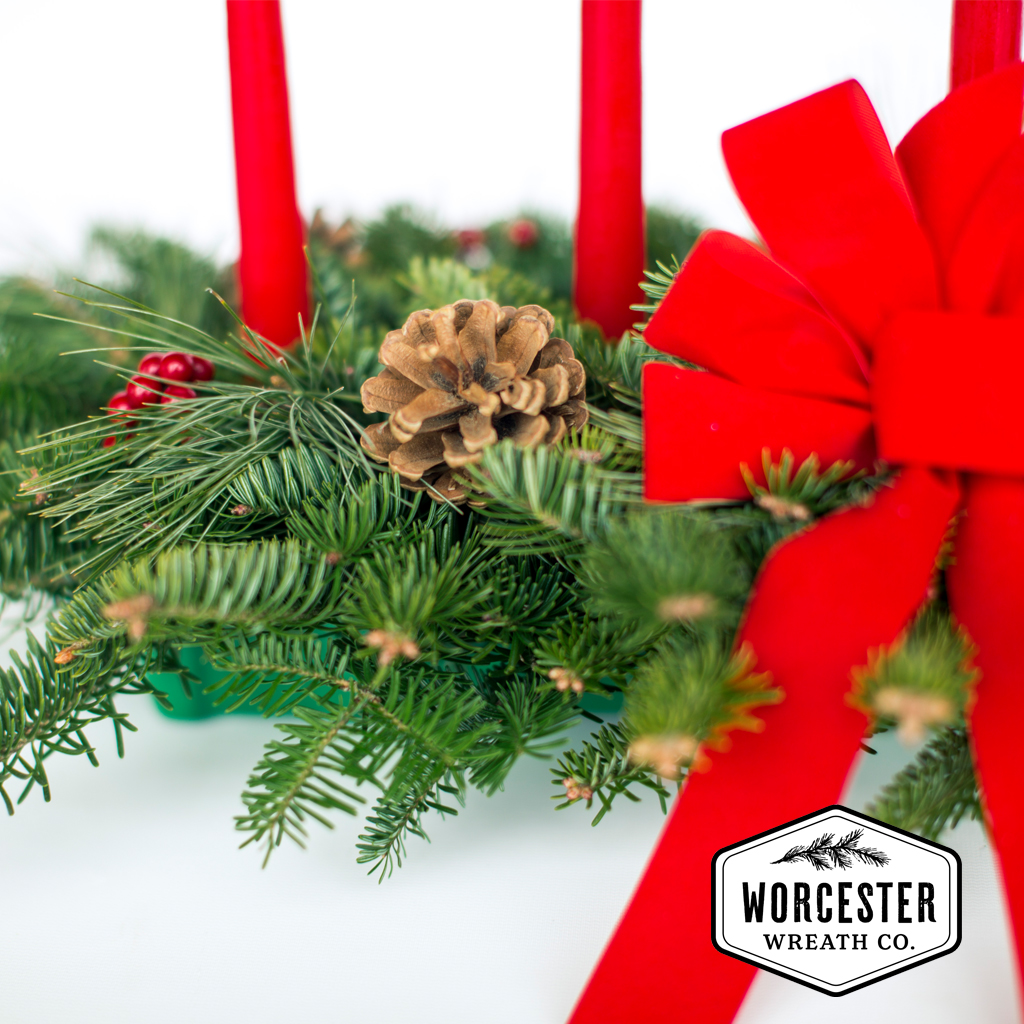 Worcester Wreath Classic 5-Candle Christmas Centerpiece