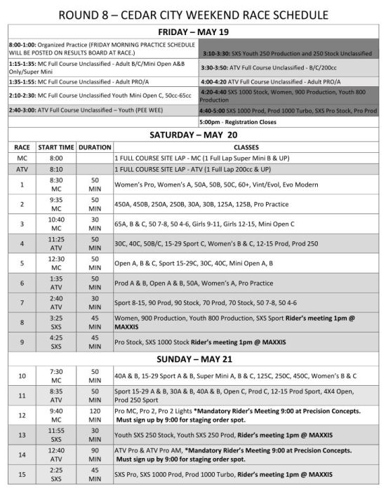 2017-Round-8-Weekend-Race-Schedule