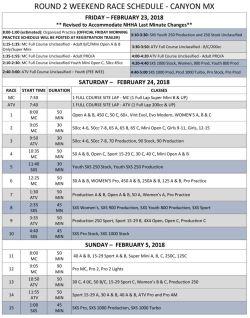 2018 ROUND 2 WEEKEND RACE SCHEDULE PDF