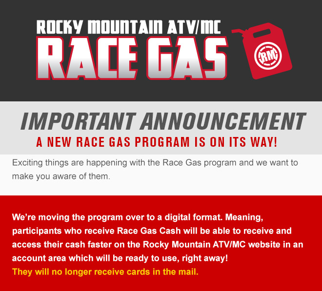 New Rocky Mountain Race Gas Program!