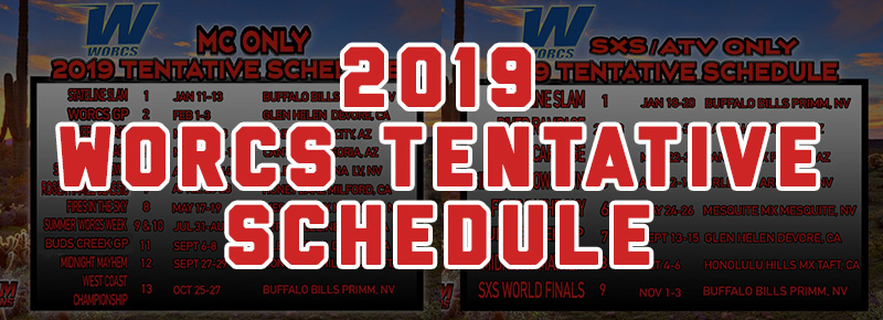 2019 WORCS TENTATIVE SCHEDULES